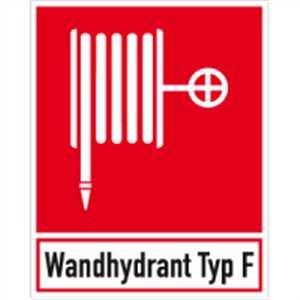 Sticker blusser met tekst: Wandhydrant type F folie 25 x 20 cm