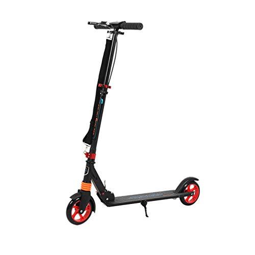 W-star Scooters, Todo de Aluminio Scooter con Correa de absorción de choques, Rodillo elevable con Freno de estacionamiento, Scooters Plegables portátiles, Adecuado para Adolescentes y Adultos,Rojo