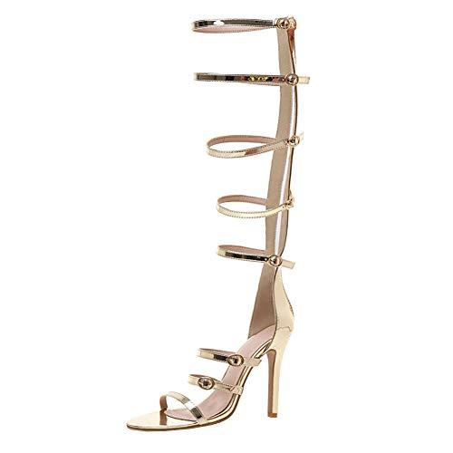 COCOLULU Gladiator Sandalen Stiefel Damen High Heels Römersandalen Kniehoch Stiletto Riemchen und Reißverschluss Sandaletten Peeptoe (EU Size 38, Golden)