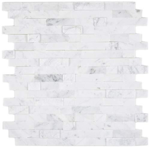 Selbstklebnde Mosaikmatte Verbund Naturstein Carrara für WAND KÜCHE Wandverblender Fliesenspiegel Verkleidung | 10 Matten