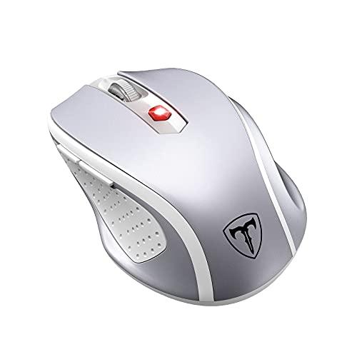 PONVIT Kabellos Maus Wireless Mouse, 2.4G USB Funkmaus für Laptop, 2400 DPI 6 Tasten Optische Ergonomische Maus mit Nano Empfänger für PC Windows MacBook Microsoft, Office Home,Silber