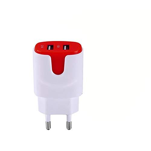 Adaptador de red USB para Samsung Galaxy Fold, smartphone, tablet, doble toma de pared, 2 puertos, corriente AC, cargador (rojo)