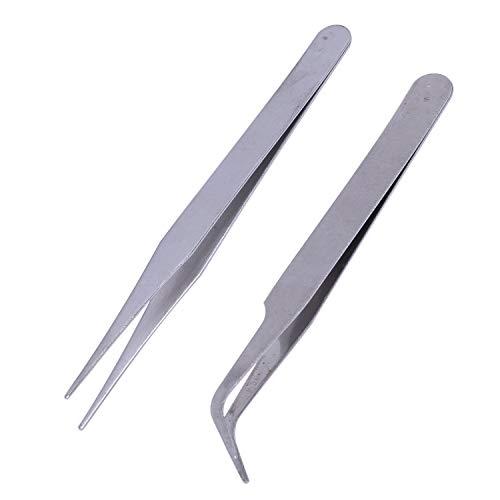 YOULY Nail 2 X acero inoxidable del arte del clavo de las pinzas de herramientas Piedras Gems pestanas herramienta Picking Acrilico Gel Arte