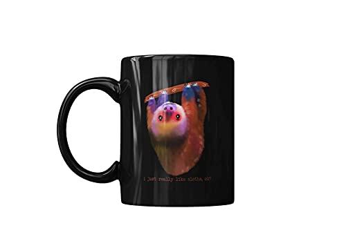 colorido, simplemente me gustan los perezosos, ok, divertida taza de café para amantes de los animales salvajes, tazas de cerámica para regalo de amigo, negro, impreso en ambos lados, 11 oz, divertida