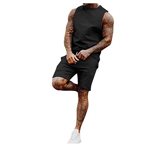 Los hombres de verano 2 piezas conjuntos de chándal ropa gimnasio yoga trajes playa sin mangas camisas tanque tops y pantalones cortos conjuntos