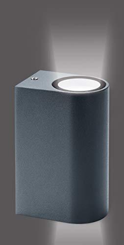 Trango IP44 Up & Down Light in Rund mit integriertem Dämmerungssensor (Tag & Nacht Schalter) TG8012-RSA Wandleuchte I Wandstrahler in Anthrazit-Schwarz incl. 2x GU10 Fassung