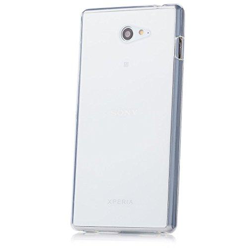 iCues Schutzhülle für Sony Xperia M2   Transparent TPU Hülle Klar   [Bildschirm Schutzfolie Inklusive] Transparent Klarsichthülle Durchsichtig Klare Klarsicht Silikon Gel Hülle Cover Schutz