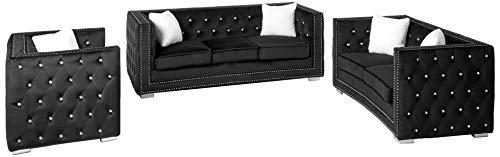 Best Master Furniture 3 Pcs Velour Living Room Sofa Set, Black