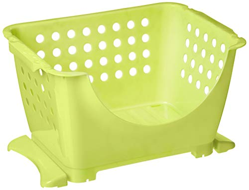 "HOMZ Stackable 13 L Storage Bin, 15"" x 11.5"" x 8.5"", Light Green"
