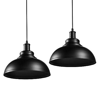 Industrial Metal Pendant Lighting,Barn Hanging Light Fixture, Edison Black Pendant Light for Kitchen Barn Restaurants Hotels and Shops,2-Pack (11.4inch) …