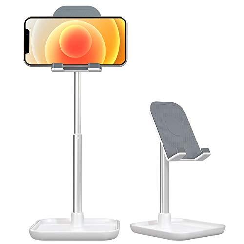 licheers Handy Ständer, verstellbare Tisch Handy Halterung, Winkel Höhe einstellbar Aluminium Tablet Halter kompatibel mit Smartphone und weitere 4-11 Zoll Geräte (Weiß)