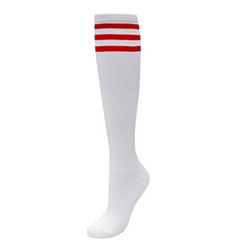 CHIC DIARY Kniestrümpfe Damen Mädchen Fußball Sport Socken College Cheerleader Kostüm Strümpfe Cosplay Streifen Strumpf, Weiß Rot Streifen, Einheitsgröße