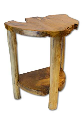 Kinaree Wurzelholz Beistelltisch SALA DAENG - 60x40 cm Massivholz Telefontisch mit Zwei Teakholzscheiben als Ablage auch als Waschtisch geeignet