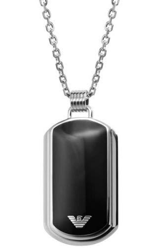 Emporio Armani Hombre de Acero Inoxidable Mate Cadena con colgante Abalone negro redondo filo 50cm–egs1726040