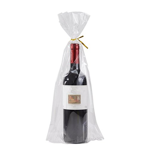 100 Gusset Cello Bags with Ties - 2.8 mil Big Size Gift Wrap Cellophane Bag - Clear Wine Bottle Gift Bags Large for Favor (8' x 16' + 4')