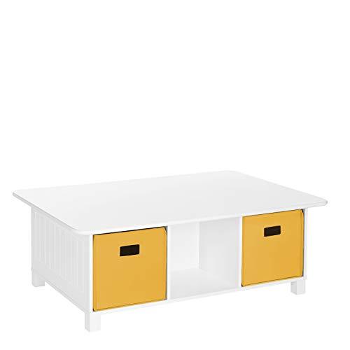 RiverRidge Home RiverRidge Activity Table, White with Golden Yellow Bins