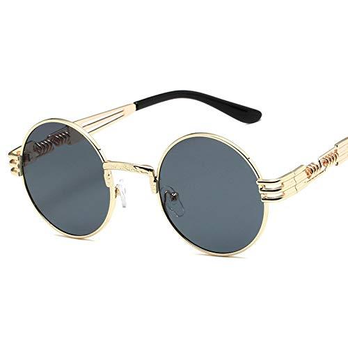 CYPZ Gafas de sol Retro Marco redondo Estilo Steampunk Gafas de sol Hombres Patas de resorte de metal Marco dorado Lentes de color