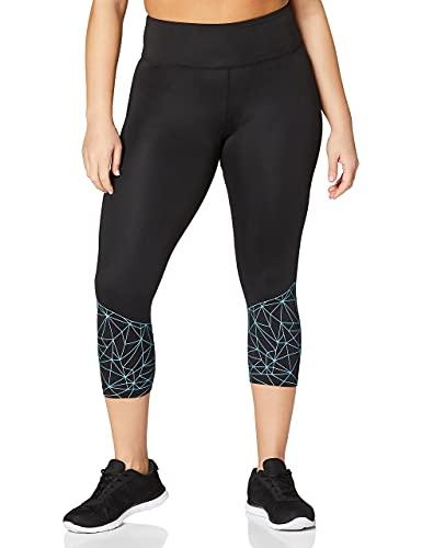 Marca Amazon - AURIQUE Mallas de Deporte Cortas Mujer, Negro (Black/Turquoise), 36, Label:XS