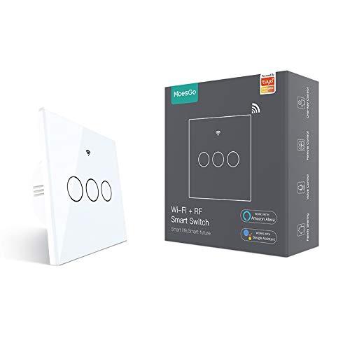 MoesGo Interruptor Inteligente inalambrico Luz WiFi interruptor pared Compatible con Alexa y Google Home, trabajo con apps Smart Life y Tuya, Control de control remoto RF433, Neutral Requerido