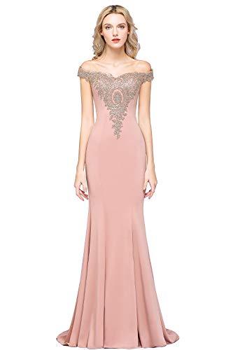 MisShow Women's Off-Shoulder Gold Prom Dress Long Formal Wedding Guest Dresses for Women,Dusty Rose,2