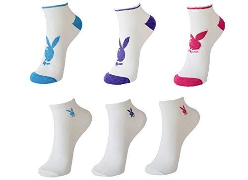 Playboy 6 Paar Damen Sneakersocken mit Glitzereffekt, Schwarz oder Weiß in 35-38 und 39-42 (35-38, Weiß)