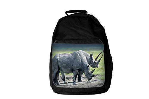 Spectacular Rhino Rhinoceros Couple Horn Raised & Horn Lowered HD Rock Field Background Mammal Animal Lovers Fashion Laptop School Business Travel Backpack Unisex for Men & Women