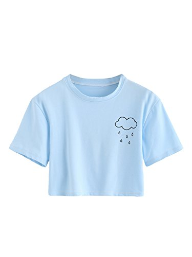 SweatyRocks Women's Summer Casual Short Sleeve Rainy Print Cute Crop Top T-Shirt Blue M