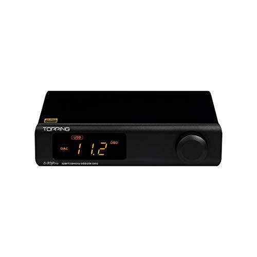 Topping D30 Pro - Decodificador DAC Hi-Fi (4 chips de decodificación USB/óptico/coaxial, 32 bits/384 kHz, XMOS XU208, audio DAC con mando a distancia), color negro