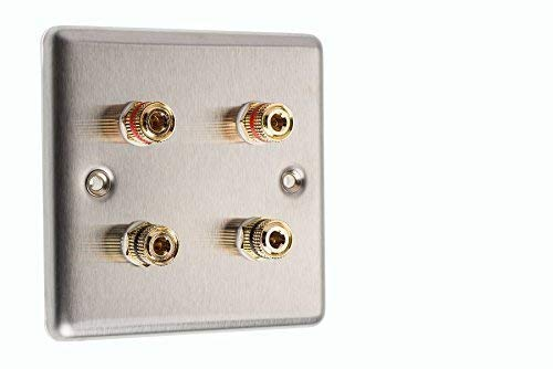 4 Post 1 Gang Surround Sound Speaker Wall Plate Stainless Steel with Gold Binding Posts NO SOLDERING REQUIRED