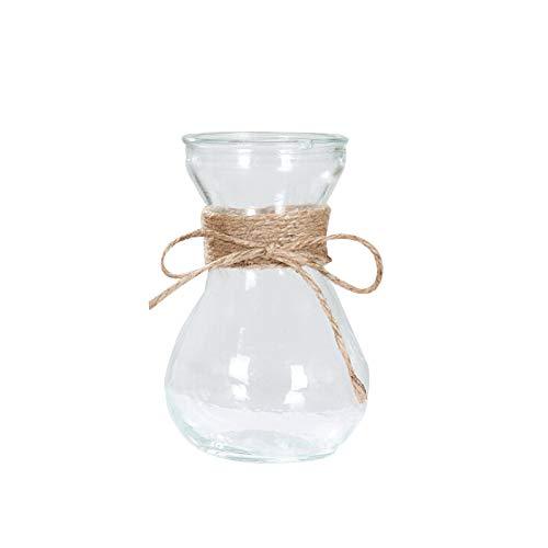 SUGERYY Jarrón de cristal transparente con cuerda de cáñamo simple para decoración de flores artificiales, flores reales para el hogar (no incluye plantas y flores).