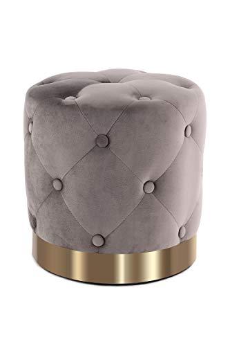 Pouf Sitzhocker Sitzpouf Rund Gesteppt Samt Gold Dekoration Ø 40 Cm Taupe Beige
