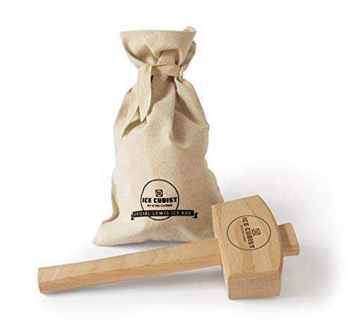 Ice Cubist Ice Mallet and Canvas Lewis Bag Set - Wooden Hammer for Crushing Ice, Professional Bartender Accessories, Craft Cocktail Tool, Ice Cube Crusher