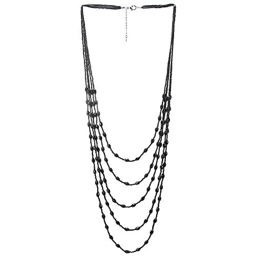 COOLSTEELANDBEYOND Negro Statement Collar Multi Capas Largo Cadena con Oval Cristal Cuentas Encantado con Colgantes Colgante