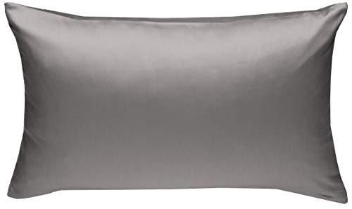 Mako-Satin Baumwollsatin Bettwäsche Uni einfarbig zum Kombinieren (Kissenbezug 40 cm x 60 cm, Dunkelgrau) viele Farben & Größen