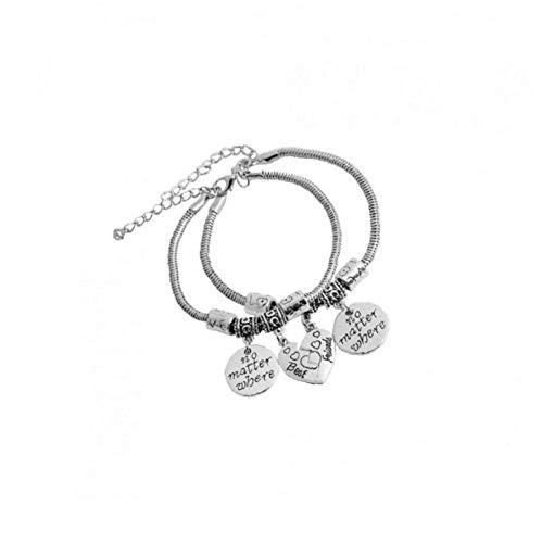 Best Friends Bracelets Split Broken Heart Double Bracelets Set Friendship Bracelet Gift Unique Design Letter'no Matter Where'Bracelet Set of 2 - Silver