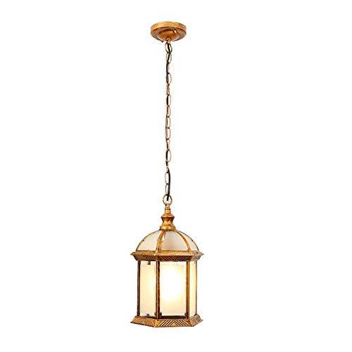 Hanglamp retro in goud zwart in hoogte verstelbaar lampenkap van glas waterdicht IP54 hanglamp voor buiten/binnen Corridoio balkon paviljoen Villa UVA frame