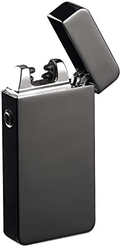 PEARL PEARL Lichtbogenfeuerzeug: Elektronisches Feuerzeug mit doppeltem Lichtbogen, Akku, USB, schwarz (Elektrische Feuerzeuge) Schwarz