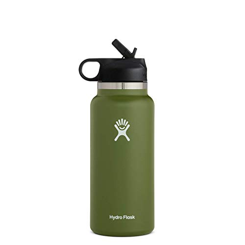 Hydro Flask Water Bottle - Wide Mouth Straw Lid 2.0 - 32 oz, Olive