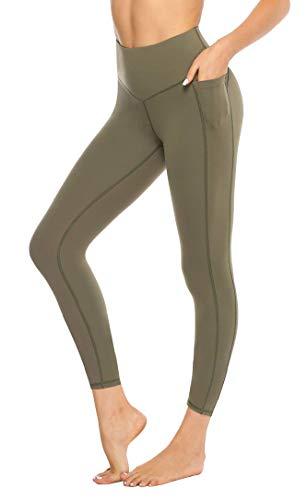 JOYSPELS Lange & 3/4 Leggins Damen mit Taschen, Sporthose High Waist Yogahose, Blickdichte Sport Leggings, Lang Armeegrün, 42 / XL