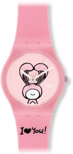 Swatch GZ265 - Reloj analógico de Cuarzo para niña con Correa de plástico, Color Rosa