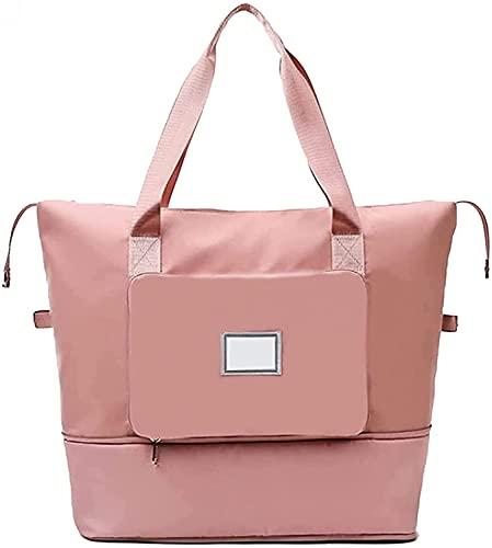 Borsa da viaggio pieghevole di grande capacità, borsa a tracolla portatile per la separazione di acqua e umidità, borsa da viaggio pieghevole impermeabile leggera da viaggio (pink)