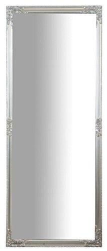Specchio, Specchiera lunga rettangolare da parete, da appendere al muro, orizzontale e verticale, Shabby chic, bagno, camera da letto, cornice finitura colore argento anticato, grande, lunga, L72xPR3xH180 cm. Stile shabby chic.