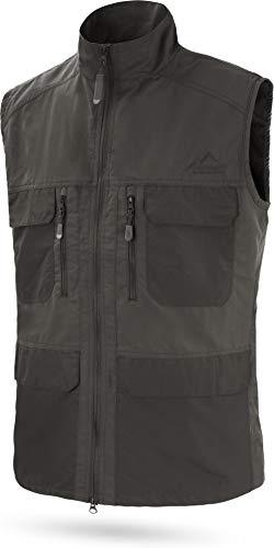 normani Herren Outdoor Sport Weste mit vielen Taschen für Freizeit, Angeln, Jagd oder Safari Tour (XS-5XL) Farbe Anthrazit Größe XL
