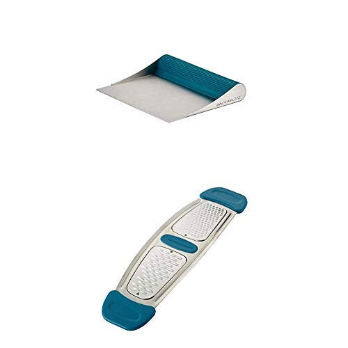 Rachael Ray Tools and Gadgets Stainless Steel Bench Scrape, Marine Blue with Rachael Ray Stainless Steel Multi-Grater with Silicone Handles, Marine Blue
