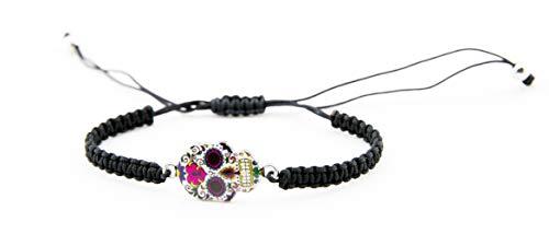 Puka Creations Sugar Skull Bracelet Day of The Dead Stretchy Bracelet Dia De Los Muertos Gifts (Skull Heart)