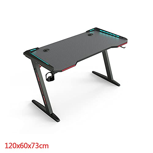 WSZMD 77 Pulgadas Ergonómica Gaming Desk RGB Light E-Sports Computer Table PC Escritorio Tablas Juego Estación Trabajo con Titular Taza USB, Escritorio Computadora (Color : Black 120x60cm)