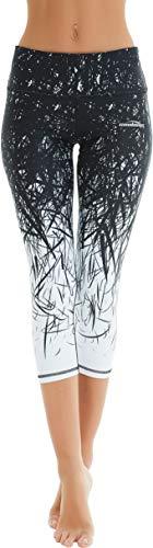 COOLOMG Women's Yoga Capri Pants Compression Drawstring Running Tights Non See-Through Leggings Black Forest Adults Medium