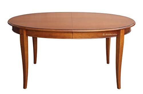 Artigiani Veneti Riuniti Ovaler Tisch ausziehbar 160x110 cm + 2 Zusatzplatte 45 cm breit, Esstisch oval für Esszimmer/Wohnzimmer im klassischen eleganten Stil, Made in Italy - Hauseinrichtung