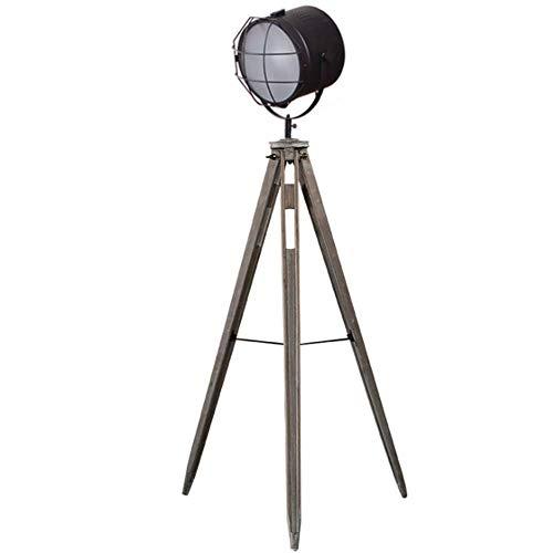 FGVBC Lámpara de pie Vintage Simple Trípode de Madera Antiguo Industrial Retro Pantalla de Malla Negra Proyector Ajustable E27 Lámpara de pie 1.6M con Interruptor de pie para Sala de Estar Dormitorio