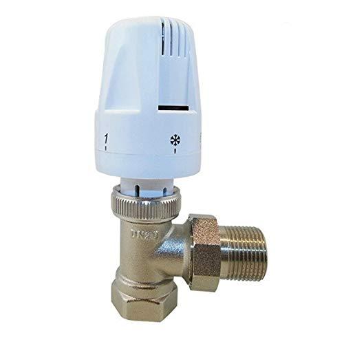 ZHENGZEQU Calefacción de Ahorro de energía del actuador DN15 DN20 válvula termostática del radiador de calefacción por Suelo Radiante Sistema (Color : Plata, Size : Angle DN15)